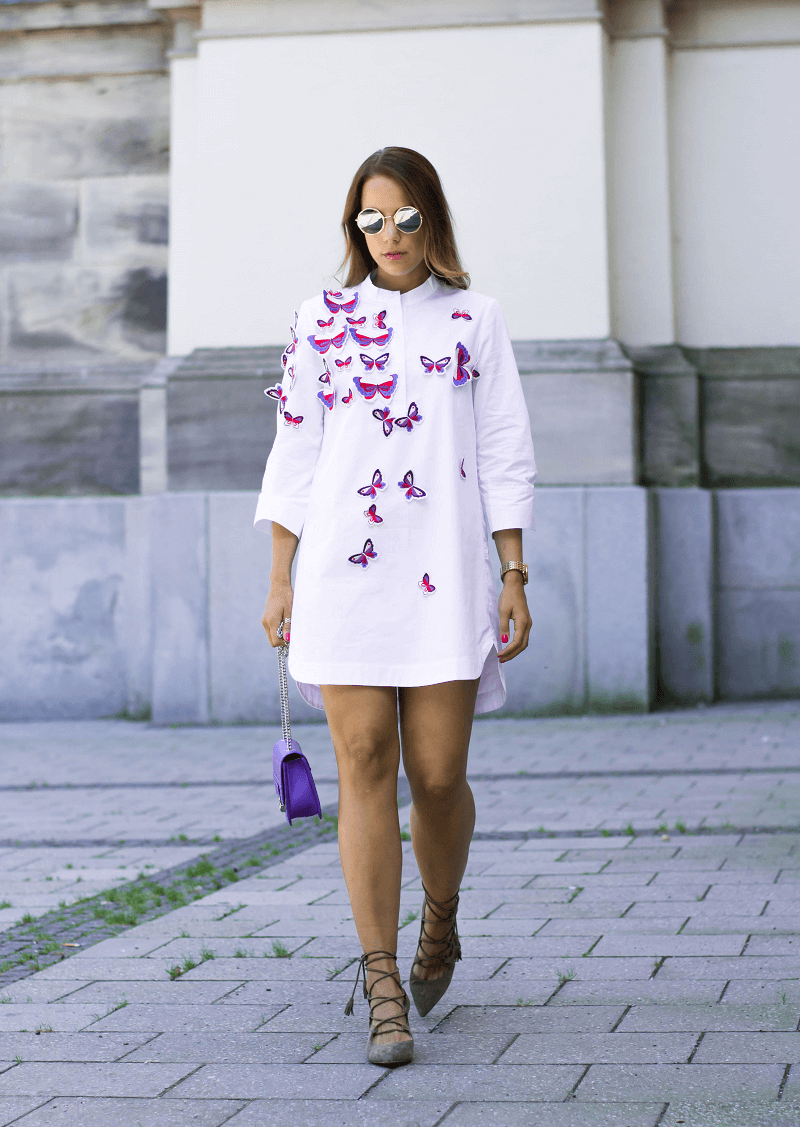ZAFUL SHIRT BLOUSE, PUMPS WITH TASSELS & MIRROR SUNGLASSES