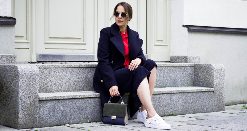 CULOTTES, STATEMENT BLOUSE, EMBROIDERED SNEAKER & MILITARY COAT