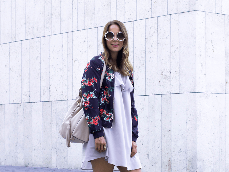 OFF-SHOULDER DRESS & BOMBER JACKET WITH FLOWER PRINT