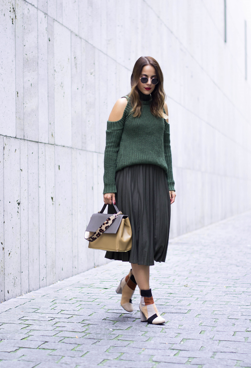 CUT OUT SWEATER, MIDI SKIRT & PATCHWORK ANKLE BOOTS