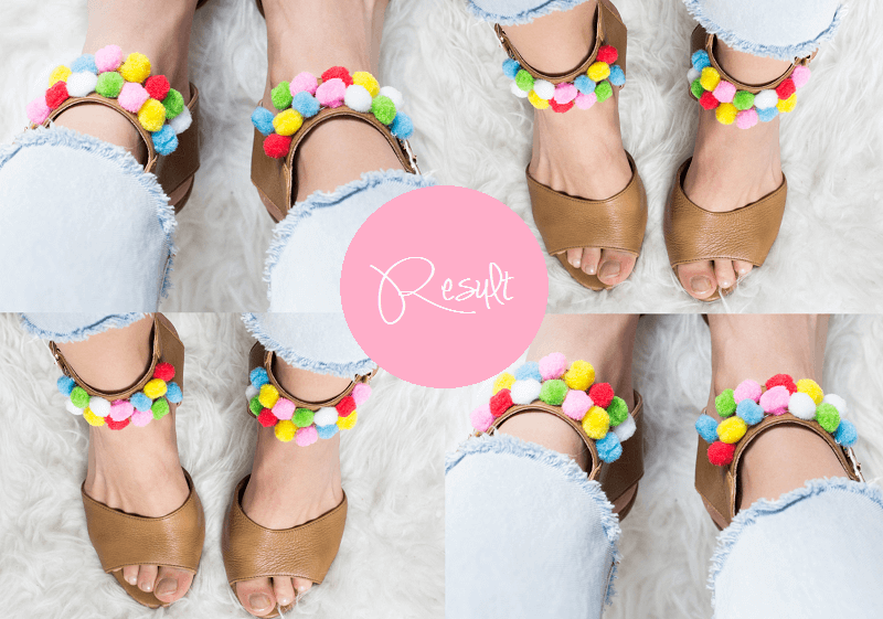 DIY: HOW TO CREATE SANDALS WITH POMPOMS