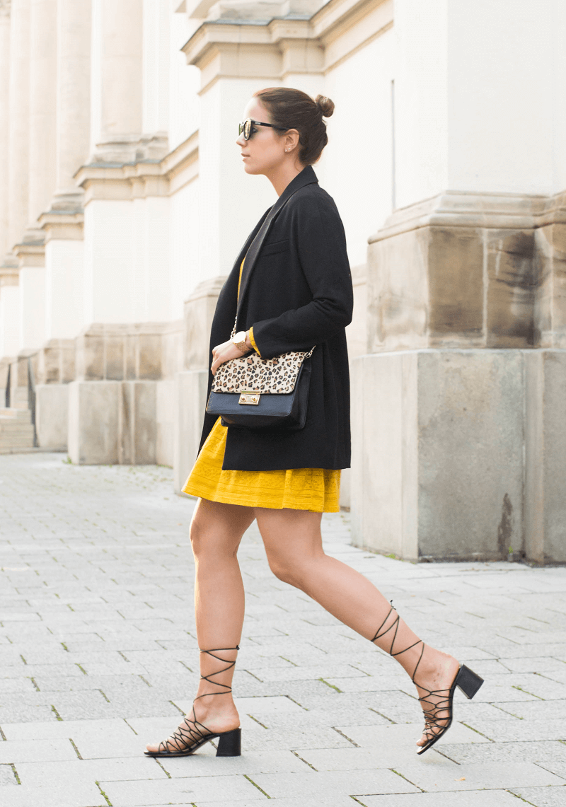 MUSTARD YELLOW SUMMER DRESS & CHLOÉ LOOK A LIKE SANDALS